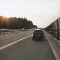 Auf der B174 am Ende der Ausbaustrecke Richtung Chemnitz