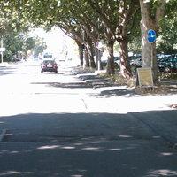 Die Anfahrtsansicht. War zwischen den Bäumen nur für das geübte Auge zu erkennen. Über der linken oberen Ecke des gelben Schildes erkennt man den Blitz.