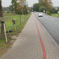 Leider war man schon am abbauen. Gemessen wurde in beiden Richtungen, wobei in Richtung Naumburg ein Anhaltekommando stand. Dies wurde einen Motorradfahrer zum Verhängnis der hier 124 km/h bei erlaubten 50 km/h fuhr.