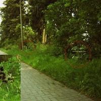 In Richtung Stadtzentrum fast unsichtbar - die Geräte standen sch...ön im Gemüse ....