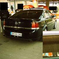 Hier der zweite Videowagen der Schweriner Polizei - Opel Vectra GT mit 220 PS. Unten rechts die Heckkamera - mittig unter der Antenne.