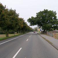 Ansicht aus Richtung Waldfriedhof. Die Straße ist eine Art Verbindungsstraße zwischen Schweriner Ortsteilen. Es gibt auf einer Seite einen breiten Bürgersteig sowie einen extra Radweg. Es gelten aber trotzdem nur 50 km/h