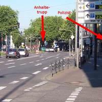 Anfahrtsansicht einer mobilen Rotlichtüberwachung