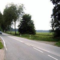 Anfahrt. Meßwagen (hell-metallicblauer Golf Variant, sh. Galerie) stand rechts im Seitenweg. Radar an der vierten Birke von hier aus ...