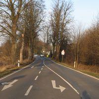 Ansicht aus Schwaan kommend. Man beachte am ersten Baum den weißen Blitz und am dritten Baum das Ausrufezeichen.