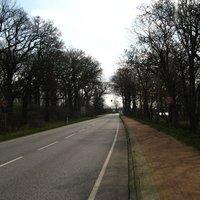 Anfahrt. Von hier an gelten bis ca. 50 m hinter der Ampel 50 km/h (agO).