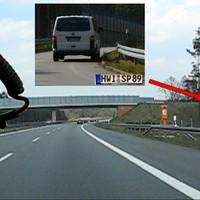 Anfahrt. (Screenshot aus Video) Gemessen wurde unter der zweiten Brücke nach der Landesgrenze.