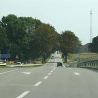 Anfahrtsansicht, die Messung erfolgt unmittelbar nach der BAB ABfahrt Greifswald in Rtg. Greifswald.