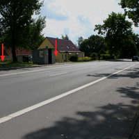 Anfahrtsansicht in Rtg. BAB 20, Gützkow-gemessen wurde in beiden Richtungen durch die Polizei.