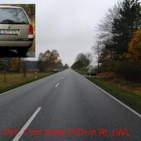 Anfahrt. Auf 'Ostseewelle' wurde die Messung als Ortsausgang von Parchim angesagt. Allerdings standen 'unsere Jungs' genau 1 km hinter dem Ortschild auf freier Strecke.