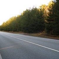 Ansicht Richtung Schwerin. Etwa 250 m hinter der Kurve beginnt die Ortschaft Warsow. Heute wurde mal eine neue Meßstelle ausprobiert.