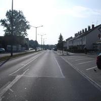 Anfahrtsansicht kurz nach der Kreuzung Eibacher Hauptstraße an der die Hafenstraße beginnt.