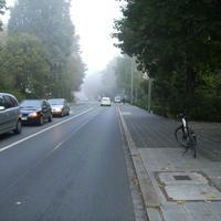 Anfahrtsansicht kurz hinter der Kreuzung Willstraße im Frühnebel.