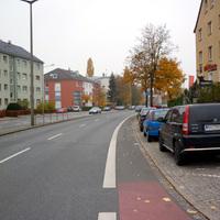 Anfahrtsansicht kurz hinter der Kreuzung Äußere Bayreuther Straße.