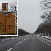 Anfahrtsansicht: Streckenabschnitt mit häufigen LKW Unfällen zwischen den Abfahrten Neuscharrel/Gehlenberg/Sedelsberg und Hilkenbrook; daher heute LKW Messung (ab 7,5 Tonnen)