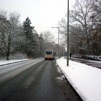 Anfahrtsansicht kurz nach der Kreuzung Breslauer Straße kurz vor dem Einbiegen auf die Messgerade.