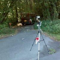 Lasermessung, schlecht einsehbar da durch Wald / Busch sehr versteckt.