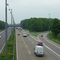 Gesamtansicht: Kurz nach Abfahrt 5a Wesseling in Richtung Bonn, vor der Brücke