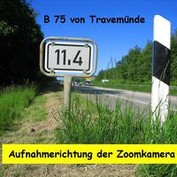 Dieses ist eine Blickrichtung wie sie mit der Digital-Zoomkamera zu sehen ist beim Km-Schild 11,4 in Rtg. Lübeck ...