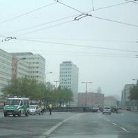 gelasert wurde man vom Potsdamer Platz kommend in Richtung Greifswalder Straße fahrend im Tunnel