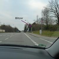 Fester Blitzer der Erste von 4 Stück auf der Durchfahrt Richtung Lindau