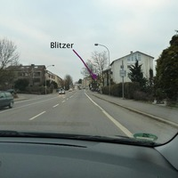 Fester Blitzer der Zweite von 4 Stück auf der Durchfahrt Richtung Lindau