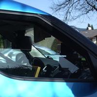 Hier ein Blick auf das Front Speedo durch die Beifahrerseitenscheibe. Viele Grüße an den wie immer sehr netten Meßtechniker.