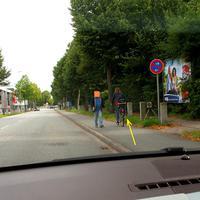 """Das """"Blitzgeschirr"""" in Rtg. zum Berliner Platz, die Kamera mit Pfeil markiert..."""