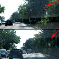 Richtung Horn - rechts kurz vor den Brückenleitplanken - hier bei Gegenlicht und grünen Büschen erst sehr spät zu sehen