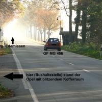 als ich anhielt, hat der rote Opel den Platz fluchtartig verlassen. Er blitzte an diesem Tag Rtg. Edemissen Manchmal dreht er seine Karre aber auch einfach um