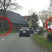 Doppelblitzanlage. Blitzt in beide Richtungen. Achtung Motorradfahrer: es sollen wohl immer beide blitzen, damit man auch ein Bild von hinten hat (=Kennzeichen).