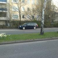Der dunkle Kombi stand einsam und allein am Straßenrand.