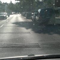 Aufgrund der tiefstehenden Sonne ist das Meßfahrzeug nicht optimal zu erkennen