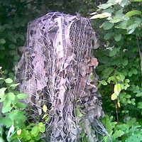 versteckt unter Tarnnetz in einer Hecke. Kontrolleur droht beim Fotografieren des versteckten Blitzers mit dem rufen der Polizei