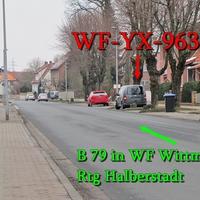 B 79 in WF Wittmar in der Mitte des Ortes nach einer Fußgängerampel, rechte Seite, in der Parkbucht, grauer VW Caddy Maxi (WF-YX-963). 50 kmh in Richtung Halberstadt.