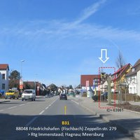 B31 Friedrichshafen (Fischbach) Zeppelinstr. 279 => Rtg. Immenstaad, Hagnau