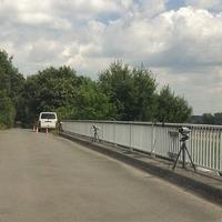 Abstandsmessung auf der Brücke BS Hafen für die Fahrstreifen der A2 in Richtung Hannover.