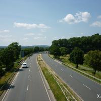 Anfahrtsperspektive an der Anschlussstelle Kulmbach-Burghaig in Fahrtrichtung Lichtenfels.