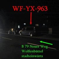 Grauer VW Caddy Maxi (WF-YX-963), Neuer Weg, in höhe vom Krankenhaus, stadteinwärts. 50 kmh.