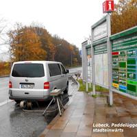 VW-T 5 ESO-Messbus mißt und blitzt stadteinwärts an der Fahrbahnverengung in Höhe CITY-PARK...