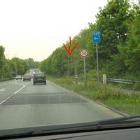 Fernewaldstrasse L21 von Kirchhellen Richtung Bottrop/Oberhausen, links die Zufahrt zur A2 Richtung Dortmund und Oberhausen, Königshardt