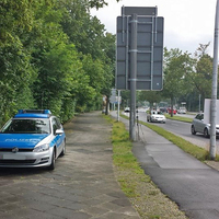 Braunschweiger Straße, in höhe vom Theater, stadteinwärts. Laserpistolenmessung