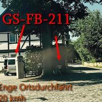 OE GS-Jerstedt, Langelsheimer Straße, aus Langelsheim kommend, nur 20 Kmh erlaubt. Steht versteckt an einem Zaun, externer ESO-Einseitensensor, silberner VW Caddy (GS-FB-211) steht auf dem Grundstück