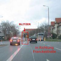 in Richtung Franckestraße ( Mittelstreifen )