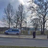 Blitzer auf der Berliner Brücke, Richtung B 188. Lasermessung der Polizei. 50 kmh.