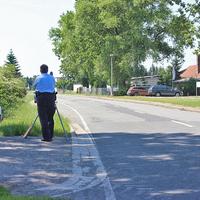 Blitzer am OA Klötze, Richtung Lockstedt. Lasermessung der Polizei, 50 kmh.