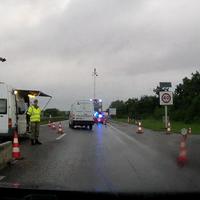 Verkehrskontrolle an der Deutsch-Dänischen Grenze auf der A7/E45 Rtg. Norden.