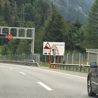 Blitzer ach dem Tunnelportal (Gotthard Tunnel)