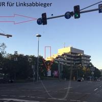 Rotlichtkontrolle ist NUR für Linksabbieger in die Friedrichstraße
