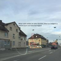 Neuer stationärer Blitzer (Rotlicht und Geschwindigkeit). Blitzt beide Spuren aus Wasseralfingen kommend. Kamera wird ständig mit dem Blitzer in der Stuttgarter Straße gewechselt, Typ: GatsoTC-GTC-GS 11
